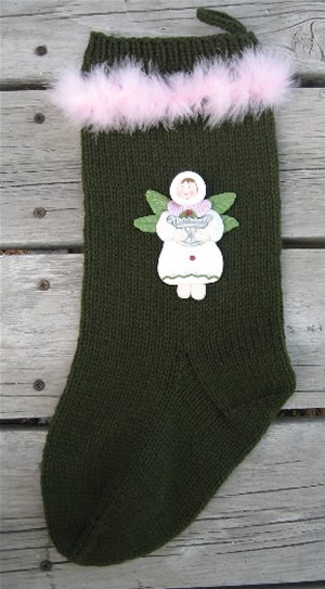 green christmas stocking, angel stocking, christmas stocking