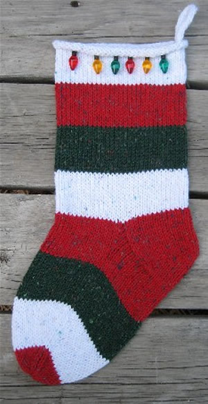 striped stocking, christmas stocking, christmas lights stocking