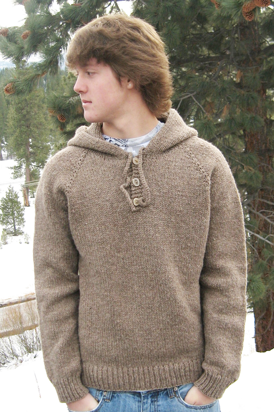 Free Pullover Knitting Patterns : # 105 Neck Down Hooded Pullover for Men Knitting Pure And Simple