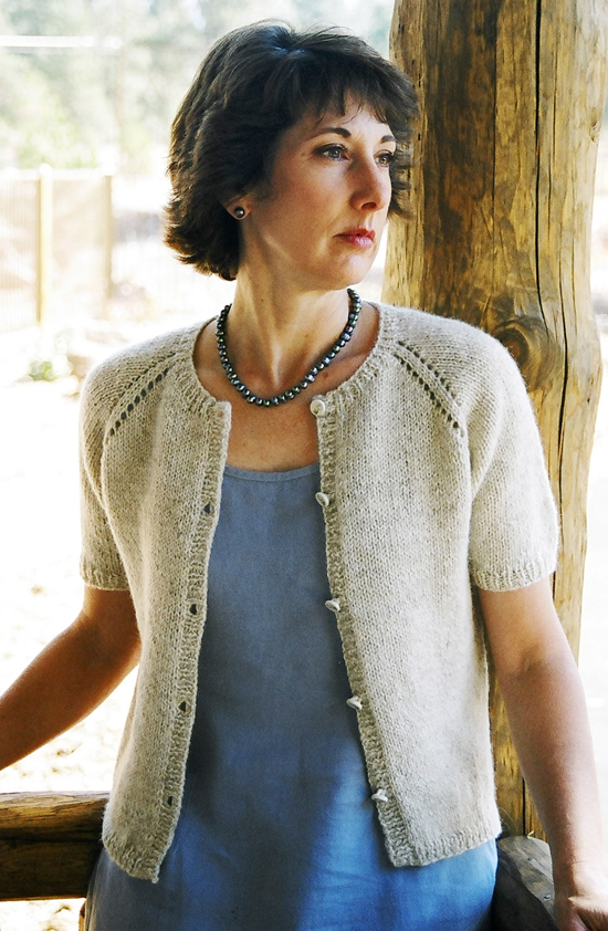 Women s Cardigan Knitting Pattern : # 221 Neck Down Summer Cardigan Knitting Pure And Simple