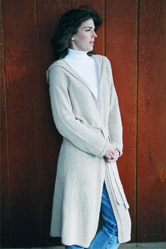 225 Neck Down Long Hooded Cardigan | Knitting Pure And Simple