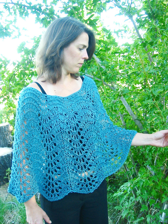 Pattern For Knitted Poncho : # 251 Easy Lace Poncho Knitting Pure And Simple