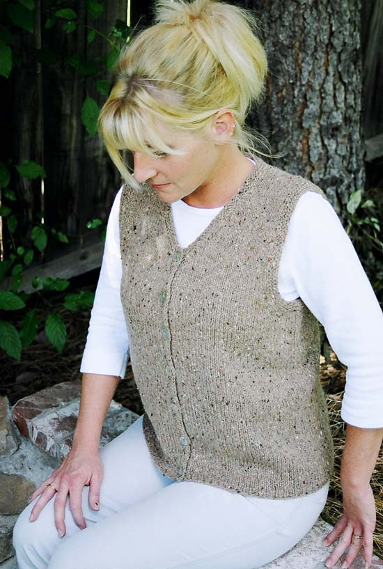 Ladies Knitting Patterns : # 995 Cardigan Vest for Women Knitting Pure And Simple