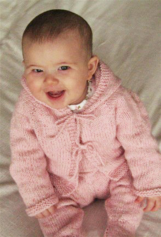 Easy Knitting Baby Patterns : Easy Baby Sweater Knitted Pattern - Long Sweater Jacket