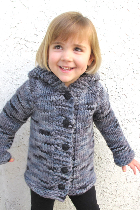 Free Knitting Patterns For Children s Pullovers : # 126   Children s Bulky Top Down Coat Knitting Pure And Simple