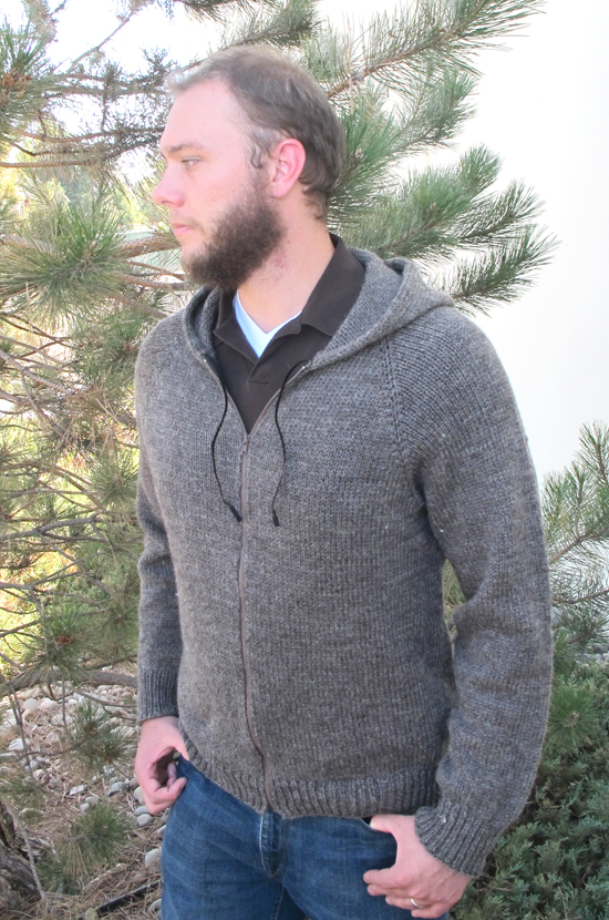 Zippered Hoodie Knitting Pattern : # 1212   Zipper Hoodie for Men Knitting Pure And Simple