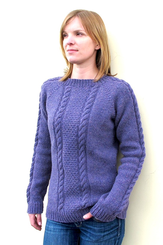 Free Pullover Knitting Patterns : # 1305 Beginner Cable Pullover Knitting Pure And Simple