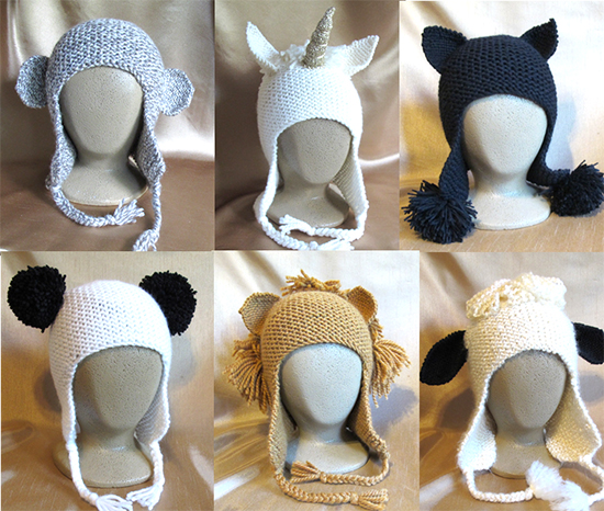 Animal Hat Knitting Patterns : # 1306 Animal Hats Knitting Pure And Simple