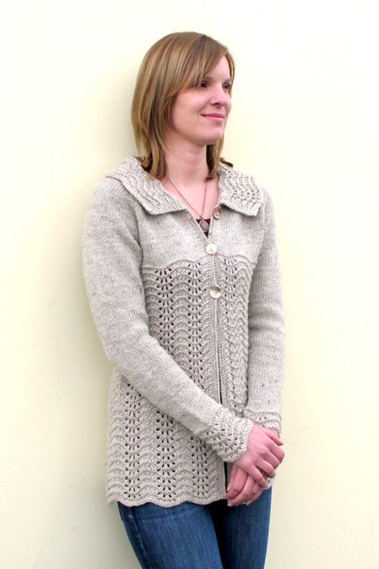 Lace Cardigan Knitting Pattern : #1307 Easy Lace Cardigan Knitting Pure And Simple
