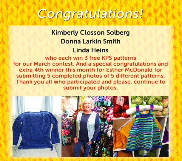 March knitting contest winners