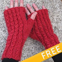 FREE- Knit Red Cable Mitts