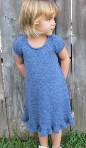 Pure And Simple Knitting Patterns : # 122   Little Girls Top Down Dress Knitting Pure And Simple