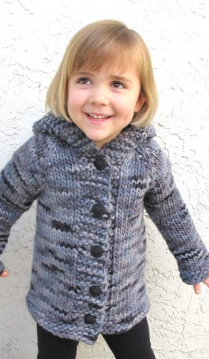 pattern 126 knitted bulky cardigan for children